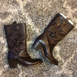 Dark Brown Leather Jane Leather Harness Moto Boots